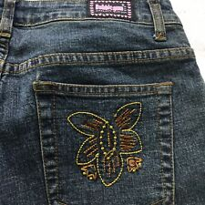 Embroidered Hippy Flower Flare Leg Womens Bubblegum Jeans W/ Modcloth Flair 9 10