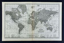 1876 Mitchell Map World Map Physical Relief with Mountain Height Ocean Currents