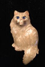 Angora Style Cat Pin Gold Tone Trim With Enamel & Rhinestone Blue Eyes Tan/white
