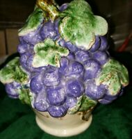 "Vintage Ceramic Purple Grapes in Bowl Of Fruit Centerpiece Decor 9"" Tall"