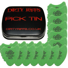 24 x Dunlop Tortex Fin Guitar Picks - 0.88mm Green In A Handy Pick Tin