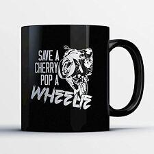 Sportbike Coffee Mug - Pop A Wheelie - Adorable 11 oz Black Ceramic Tea Cup - Cu