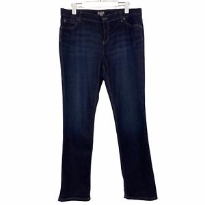 J. Jill Slim Leg Dark Blue Wash Stretch Denim High Rise Jeans EUC Womens Size 14