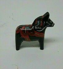 "Vintage Dala Horse figure 1-3/4"" tall black Wood Sweden Folk Art"