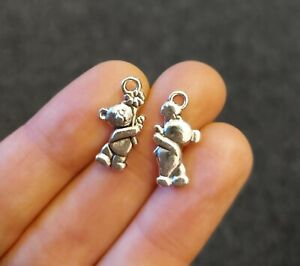 Pack of 10 Antique Silver Teddy Bear Charm Pendant 19mm 3D Baby Flower