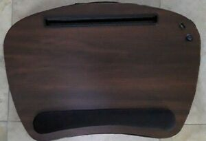 Sofia+Sam Brown wood grain top Portable Memory Foam LapDesk USB Light