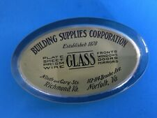 VTG ADVERTISING BUILDING SUPPLIES PAPERWEIGHT SOLID GLASS REVERSE PAINTED OVAL A