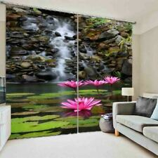 Beautiful Pink Lotus 3D Blockout Photo Print Curtain Fabric Curtains Window