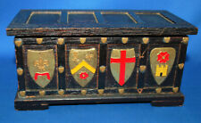 A medieval gothic style wooden casket, painted shields, treasure chest