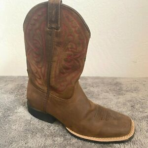 ARIAT Boots Square Toe Women Sz 3.5 Brown Leather Quickdraw Rugged 10004853