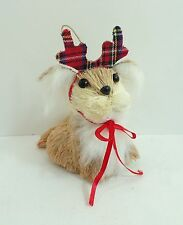 NEW Bottle Brush Christmas Dog Puppy Pooch Plaid Antlers Holiday Tree Ornament