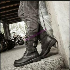 Mens Leather Knight Mid Calf Boots Motor Biker Retro Punk Shoes Lace Up Chic Hot