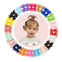 "40pcs Boutique 2"" Hair Bow Clips Fully Lined Clip for Baby Girls Infants Toddler"