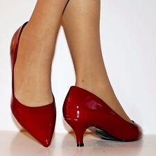 Damas Tacón Bajo Gatito de patente de noche de fiesta de Novia Tribunal Zapatos Bombas de Tamaño 77-3