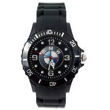 BMW Mens SILICONE Black Red CHROME Dial Sport RACING CAR Watch RELOJ UHR ZEGAREK