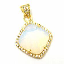 Vermeil Gold Opalite Quartz Plated Bezel Gem Pendant,Cubic Zirconia Pave 17mm