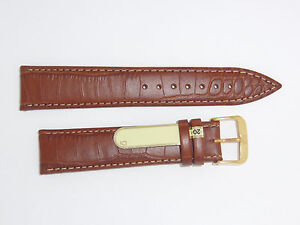 DI-Modell Genuine Calf Leather Alligator Grain 20 mm BROWN Watch Band ORLANDO