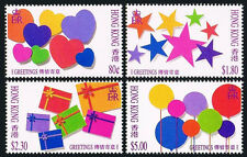 Hong Kong 661-664, MNH. Greetings. Hearts, Stars, Presents, Balloons, 1992
