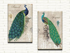 PEACOCKS MODERN ABSTRACT CANVAS PRINTS LARGE 50x80 SET OF 2 WALL ART