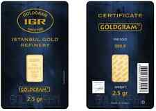 2.5 Gram IGR Mint 999.9 Gold Bar Sealed w Assay Certificate 24 Karat