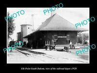 OLD POSTCARD SIZE PHOTO OF ELK POINT SOUTH DAKOTA THE RAILROAD DEPOT c1920