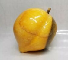 Vintage Italian Alabaster Marble Peach w/ wood stem, polished paperweight.2