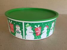 Tupperware Round CHRISTMAS CANISTER Very Good Used Condition