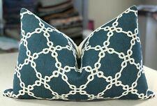 """One Thibaut Cobalt """"Bowen"""" Cotton Blend Geometric Trellis Custom Bolster Pillow"""