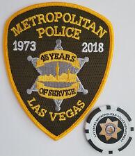 LAS VEGAS METROPOLITAN POLICE 45th ANNIVERSARY PATCH & LVMPD POKER COIN/CHIP