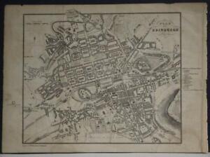 EDINBURGH SCOTLAND 1850 AIKMAN UNUSUAL ANTIQUE ORIGINAL LITHOGRAPHIC CITY MAP