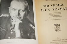 HEINZ GUDERIAN SOUVENIRS D'UN SOLDAT GUERRE 39 45 WERHMACHT CARTES 1955 PANZER