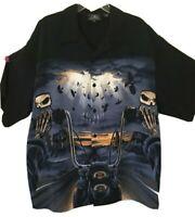 Rockhouse Roadhouse Biker Harley graphic Button Front Camp Skull Shirt NWOT XXXL