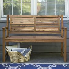 Natural Wood Garden Bench 4 Foot 2 Person Traditional Slatted Back Outdoor Patio