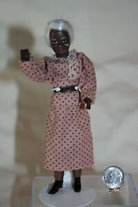 Miniature Dollhouse Vintage Caco African American Poseable Grandmother Doll NR
