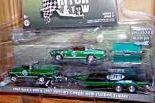 "GREENLIGHT ""GREEN CHASE"" 1967 FORD F-100 & MERCURY COUGAR W/TRAILER ""DAN GURNEY"""