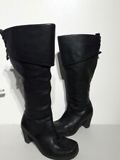 "Clarks Black Knee High Boots Size 5.5 W UK Steampunk Pirate 3"" Heels"