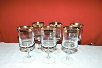 "Set of Six Crystal Stemware Wine Glasses Platinum & Gold Rings. 7"" tall 3"" mouth"