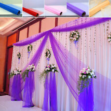 10M/33 Feet Sheer Organza Fabric Swag Wedding Party Event Decoration Purple