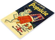 TIN SIGN B442 Popsicle Snow Man Ice Cream Rustic Retro Ice Popsicle Sign Decor