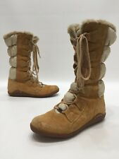 Timberland Parkin Womens Tan Suede Faux Fur Lace High Winter Boots Size 8.5M