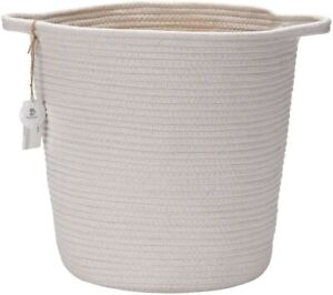 Natural Cotton Thread Woven Rope Storage Basket Bin Hamper with Handles Small