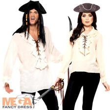 White Pirate Shirt Adult Fancy Dress Caribbean Buccaneer Mens Ladies Costume Top