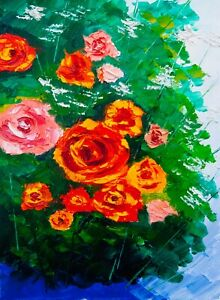 "Red Roses Modern Natasha Petrosova original oil painting Impressionism 19""x12"""