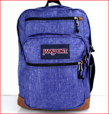 "Jansport COOL STUDENT 15"" LAPTOP / TABLET Backpack  XL Faux Leather Denim Look"