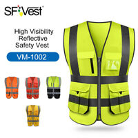 SFVest High Visibility Reflective Safety Reflective Vest Workwear Security B4Q8