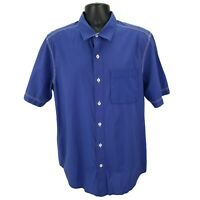 Tommy Bahama Island Modern Fit Button Down Shirt Short Sleeve Blue Mens Large L