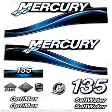 2005 Blue Mercury 135hp Saltwater Optimax Outboard Engine Decals Reproductions
