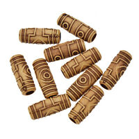 10Pc Set Wooden Color Dreadlock Bead Braiding Hair Beads Dread Cuff Tube Jewelry
