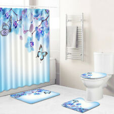 4Pcs Bathroom Rug Set Shower Curtain Set Bath Mat Non-Slip Toilet Seat Lid Cover