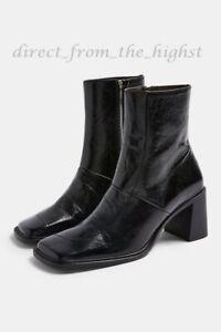 TOPSHOP MILAN Black Block Leather Boots SIZE EU 36_37_38_39_40_41_42